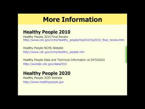 Healthy People 2010 Final Review Webinar (Part 7 of 7)