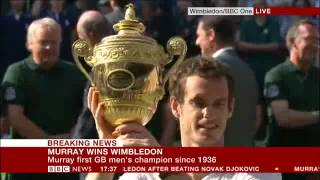 Tennis Highlights, Video - Andy Murray Wins Wimbledon Live on BBC NEWS, Inc Winning match