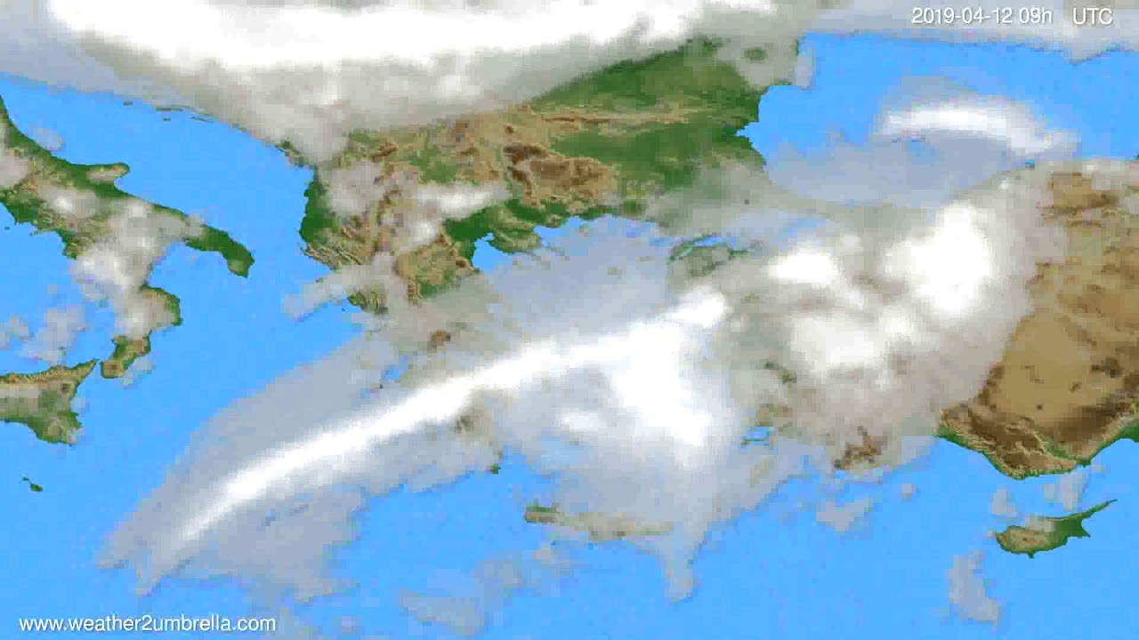 Cloud forecast Greece // modelrun: 12h UTC 2019-04-10