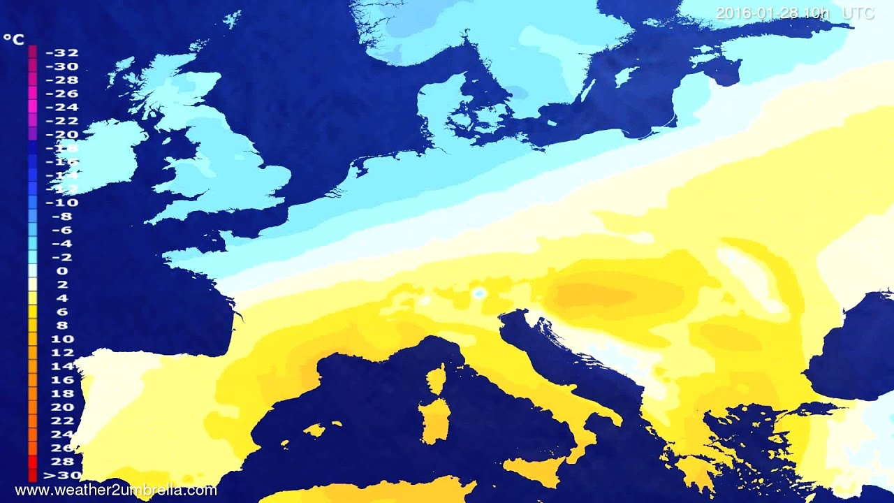 Temperature forecast Europe 2016-01-26