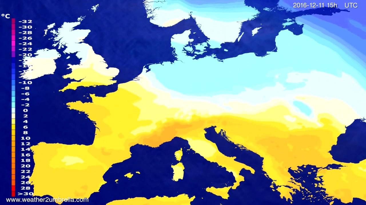 Temperature forecast Europe 2016-12-08