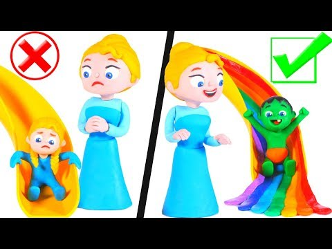 KIDS PREFER RAINBOW SLIDE ❤ SUPERHERO PLAY DOH CARTOONS FOR KIDS