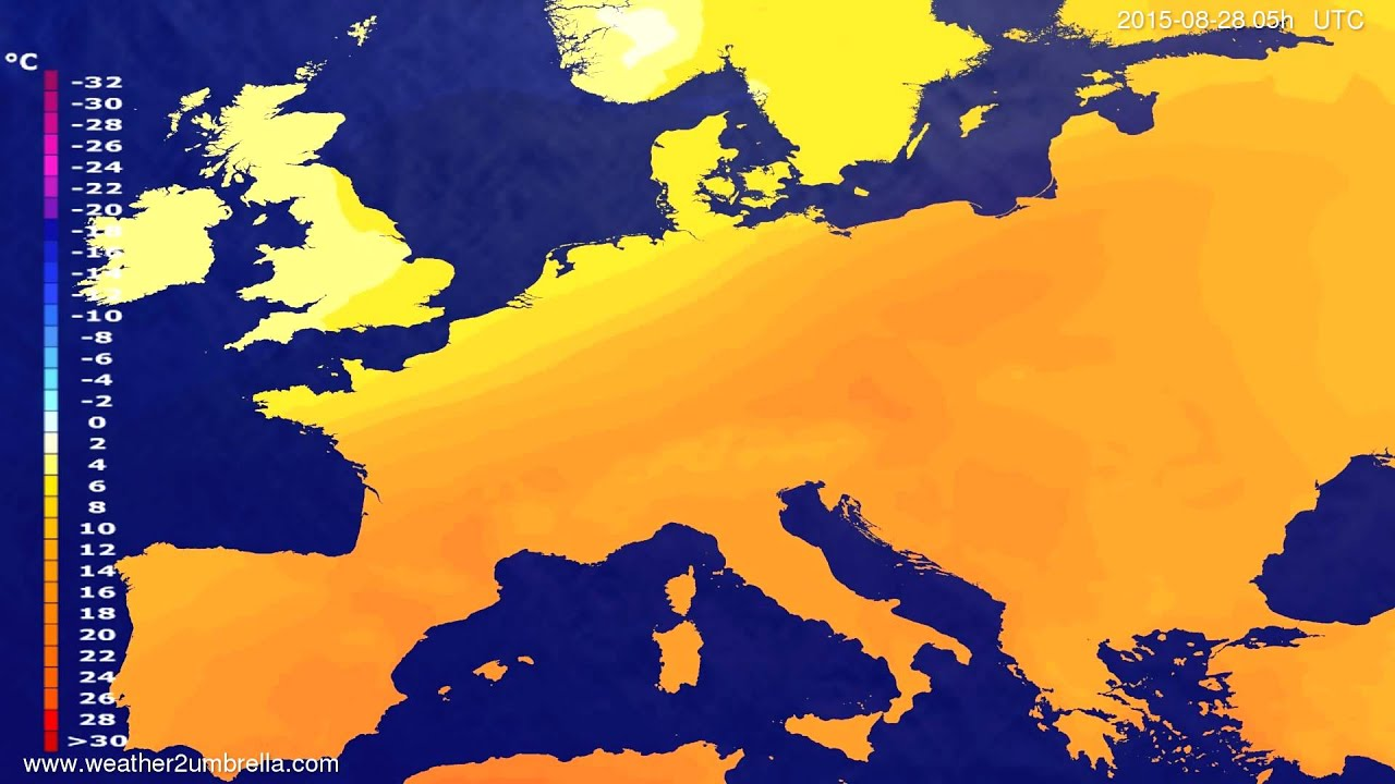 Temperature forecast Europe 2015-08-25