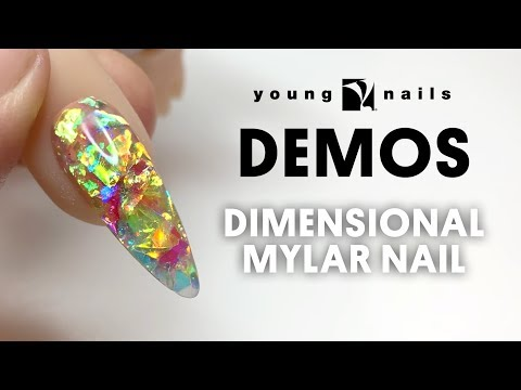 Gel nails - Young Nails Nail Demo - Dimensional Mylar Nails - Acrylic Nails