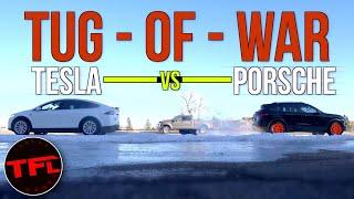 It's On! Tesla Model X vs. Porsche Cayenne Turbo vs. Ford F-250 Tug-of-War by The Fast Lane Car