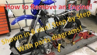2. How to remove a motorcycle atv engine in 6 min! Demo: DRZ400SM DRZ DRZ400 Engine Removal