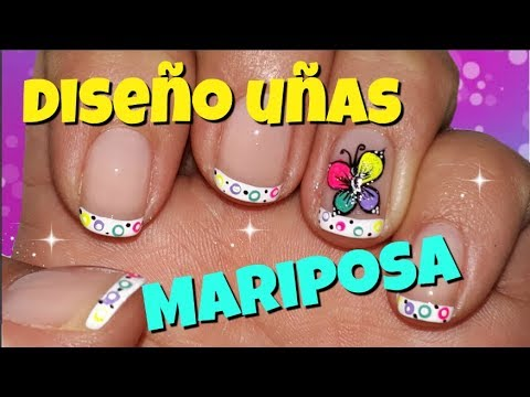 Decorados de uñas - Diseño de uñas cortas de Mariposas - Butterfly nail art tutorial