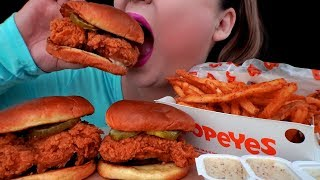 ASMR POPEYES NEW CHICKEN SANDWICH FRENCH FRIES EATING SOUNDS NO TALKING