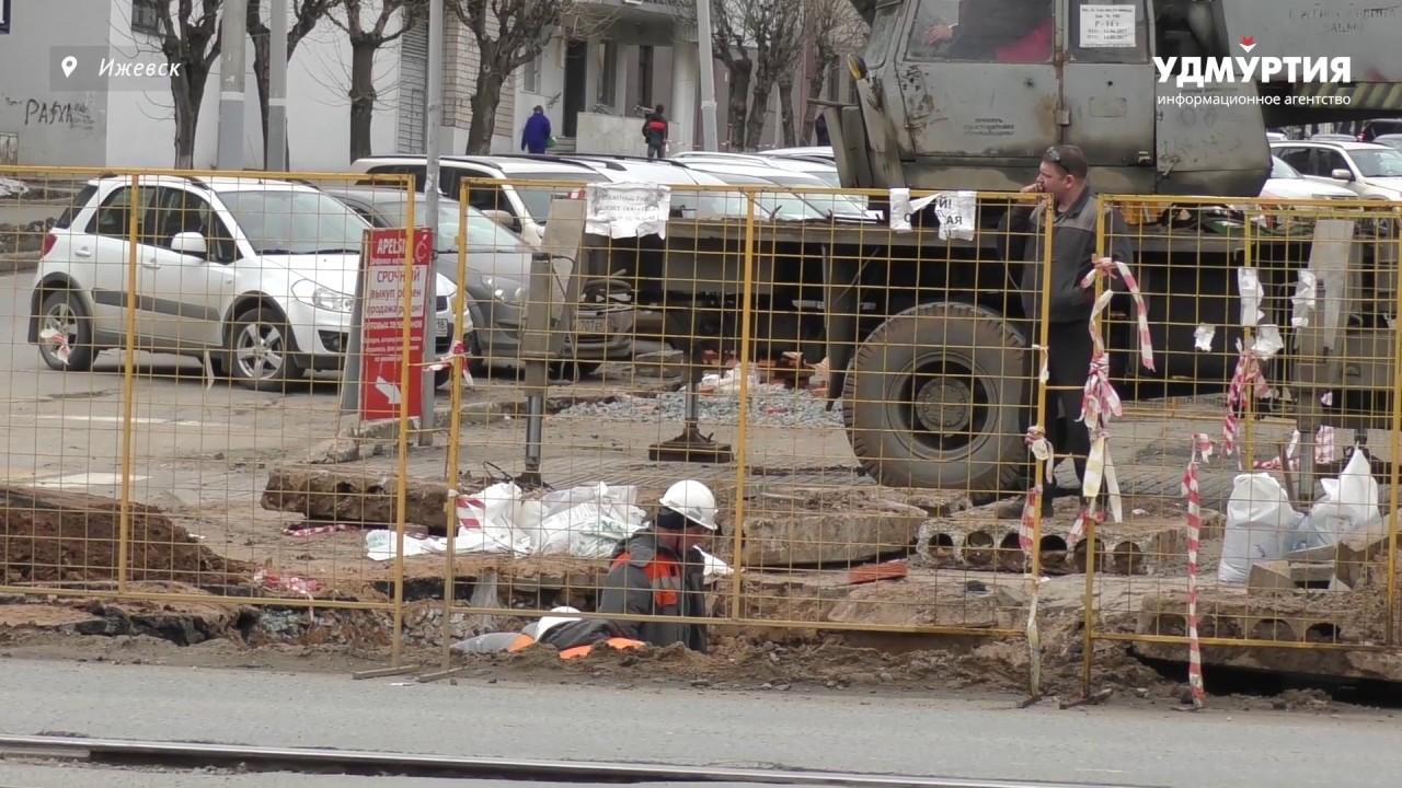 Ремонт трубопровода на улице Ленина в Ижевске