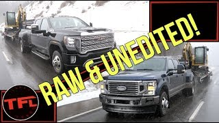 Behind the Scenes: Watch The Ford F-350 and GMC Sierra Struggle To Tow 30,000 Pounds Up a Mountain! by The Fast Lane Truck