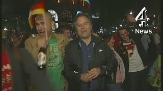 Germany fans mob reporter after World Cup win | Channel 4 News