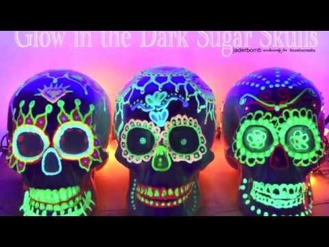 Glow in the Dark Sugar Skulls for Dia De Los Muertos