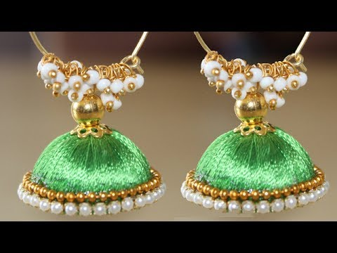 How To Make Partywear Silk Thread Earrings At Home | Latest Jhumkas New Models | Designer Earrings
