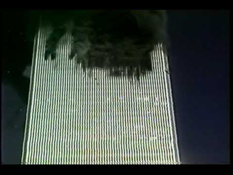 Footage - Looking down on bodies of jumpers, plane roars above out of sight then the tape cuts mid explosion -- full length tape from the International Center for 9/11...