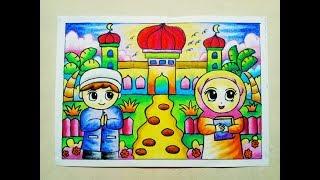 Download Video Cara Mewarnai Gradasi Crayon / Oilpastel : Pergi ke Masjid MP3 3GP MP4