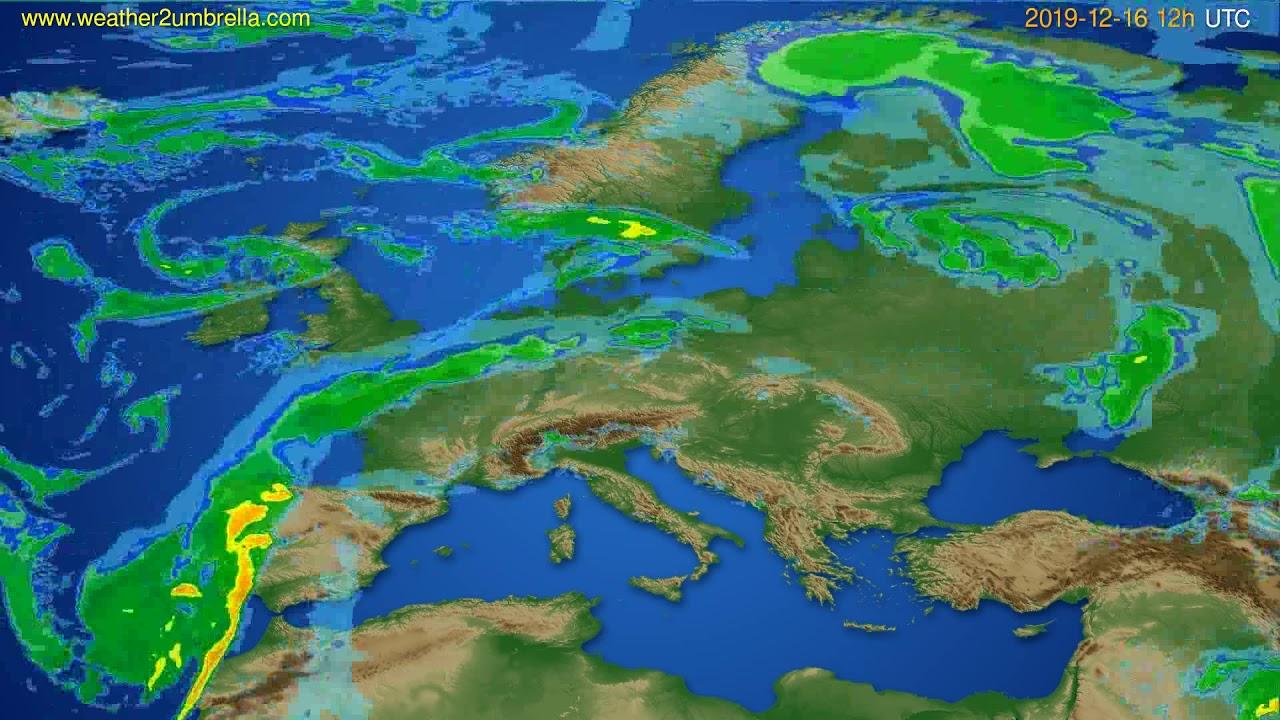 Radar forecast Europe // modelrun: 00h UTC 2019-12-16