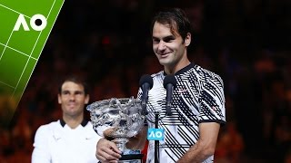 Roger Federer receives his trophy and addresses the audience following his Australian Open 2017 men's singles final.