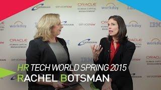 Dorothy Dalton interview Rachel Botsman on collaborative economy in the media lounge of HR Tech World 2015, London.