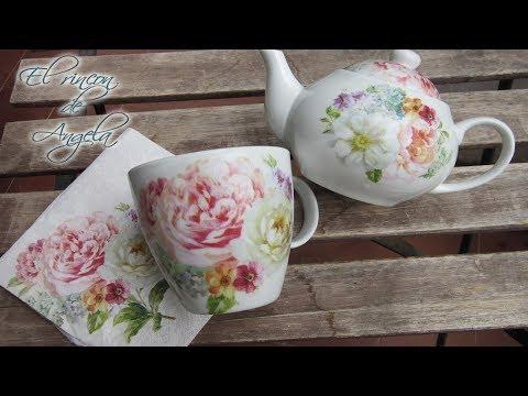 decorare oggetti di porcellana con la tecnica del decoupage