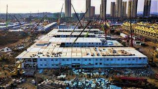 Timelapse wybudowanego tymczasowego szpitala w Wuhan w ciągu 10 dni