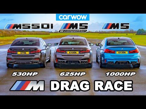 BMW M5 1000hp v M5 Comp v M550i - DRAG RACE