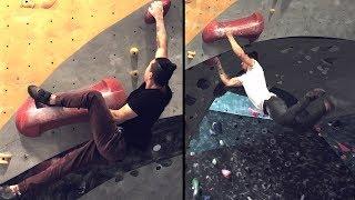 Fun Dynamic Overhang climbs and a tough sloper! by  rockentry