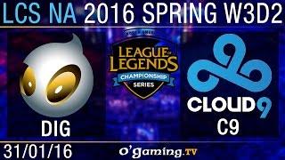 Dignitas vs Cloud9 - LCS NA Spring Split 2016 - W3D2