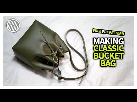 [Leather Craft] Making a Classic bucket bag / tutorial / Free Pdf Template