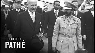 Ethiopia's Haile Selassie Arrives In Paris (1954)