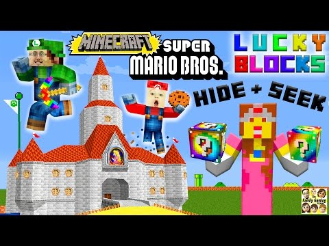 MARIO, LUIGI & PRINCESS PEACH play MINECRAFT!  Lucky Block Hide & Seek FGTEEV Challenge! (видео)