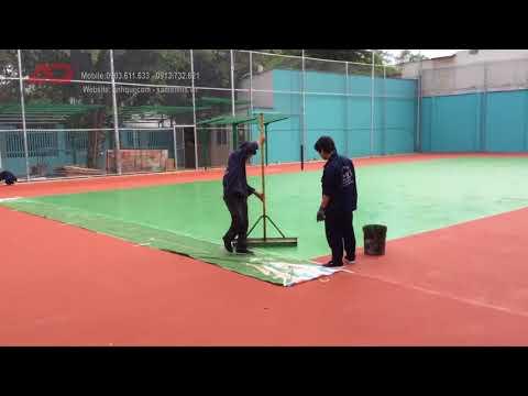 Quy trình sơn mặt sân tennis: lớp sơn Acrylic Color USA (Green - Red)