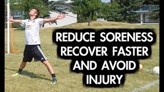 How to reduce muscle soreness  Get rid of leg soreness after soccer or football  Use this cool down routine to reduce the potential of muscle soreness and specifically leg soreness after playing or training. You can also use this football cool down to prevent injury, aid in muscle recovery, and increase your frequency of play.In the future I will make a specific video on how to reduce muscle soreness and how to reduce leg soreness after it has already occurred. Prevention starts with your cool down but sometimes the damage to your legs is too much to control with one soccer cool down session.For that purpose I will create another video that focuses on how to get rid of leg soreness at home. Thanks for watching this video. Please remember to LIKE, comment, and share.Do you want to get all the latest updates and behind the scenes footage? Stay connected on social media!I release tons of content that you won't find on YouTube.First and most importantly...SUBSCRIBE to Progressive Soccer on YouTube: ► http://www.youtube.com/subscription_center?add_user=ProgressiveSoccerNext, hit me up on Facebook:► Join the group: https://www.facebook.com/747642591984051► Like the page: http://www.facebook.com/prosoccertraining► Follow Dylan: http://www.facebook.com/dylantoobyAre you on Instagram? Follow me:► PST: http://www.instagram.com/ProgressiveSoccer► Dylan's Profile: http://www.instagram.com/DylanTooby► @progressivesoccer and @dylantoobyI just started using SnapChat! ADD ME:► My username is: soccertrainingAlso, if you have twitter please Follow me:► http://www.twitter.com/_SoccerTrainer► @_soccertrainerPinterest? LinkedIn? Google+? Follow Me!► Pinterest: http://www.pinterest.com/SoccerTraining► LinkedIn: https://www.linkedin.com/in/progressivesoccertraining?► GooglePlus: https://plus.google.com/118431858178299977158/If you have any questions you'd like to ask me you can:1) Comment on this video2) Send me a message on social media (any of the accounts above)3) Send me an email at i