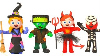 SUPERHERO BABIES HALLOWEEN COSTUMES ❤ SUPERHERO PLAY DOH CARTOONS FOR KIDS