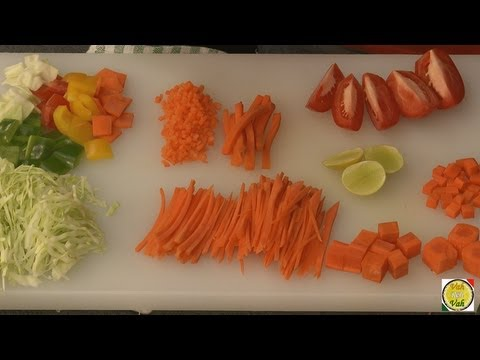 VEGETABLES - The vegetable cut selected for a particular dish must complement the dish it is being used for. For example, sambar we require larger pieces than light conso...