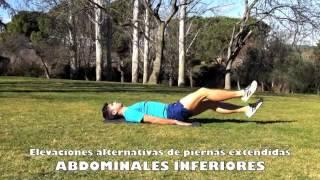 Inferiores con elevaciones alternativas de piernas extendidas en horizontal