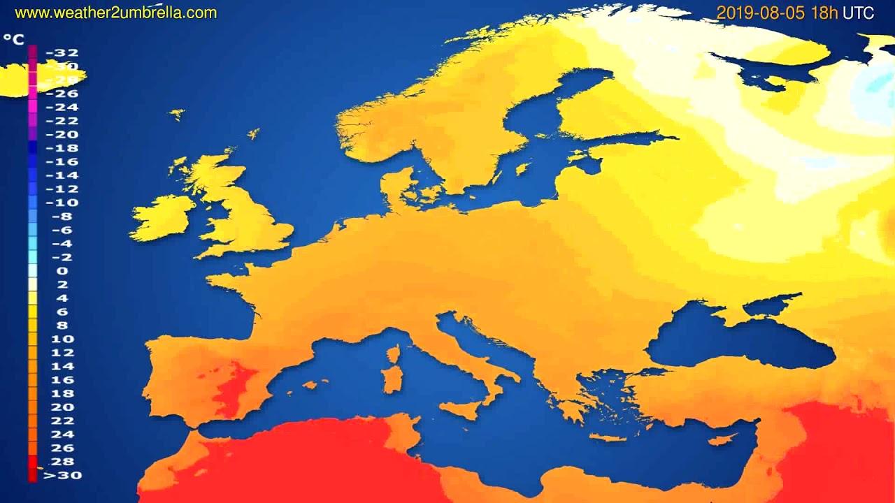 Temperature forecast Europe // modelrun: 12h UTC 2019-08-03