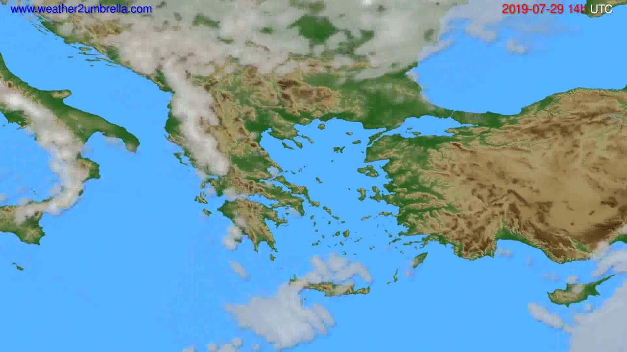 Cloud forecast Greece // modelrun: 12h UTC 2019-07-27