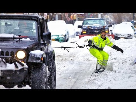 Man Snowboarding Through The Streets Of New York!