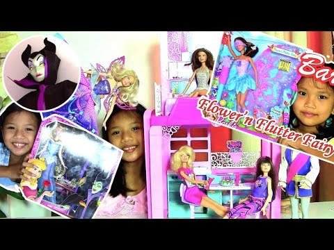 Barbie Glam Vacation House Sleeping Beauty and Maleficent Barbie Doll Flower 'n Flutter Fairy
