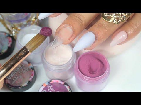 Videos de uñas - uñas acrilicas lujosas efecto terciopelo con la colección romance en punta stiletto y flores 3d