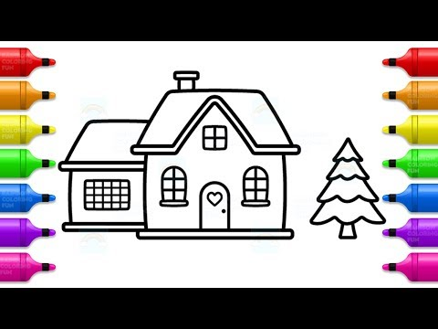 How to Draw Santa House and Christmas Tree - Fun Coloring Pages for Kids