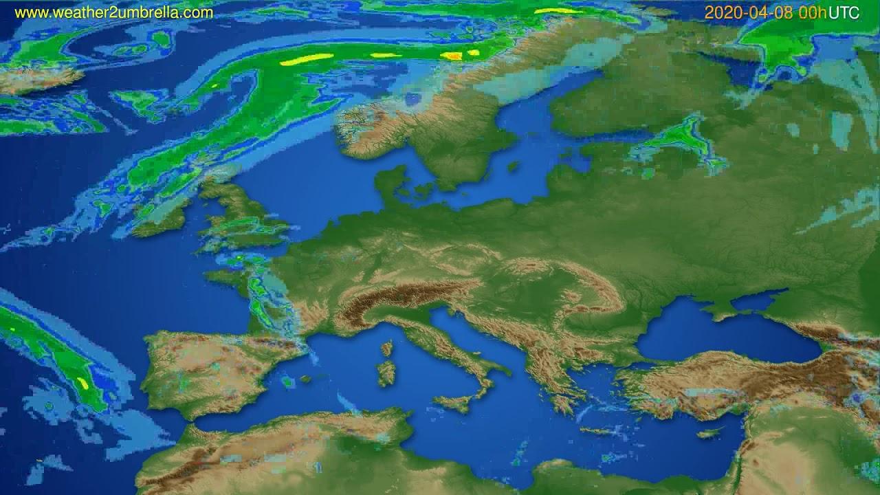 Radar forecast Europe // modelrun: 12h UTC 2020-04-07
