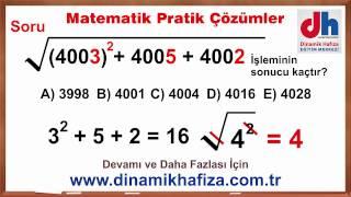 Pratik Yöntemlerle KPSS TYT ALES  DGS Soru Çözümleri www.dinamikhafiza.com.tr