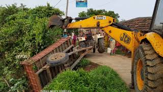 Swaraj Tractor Flip Down The Road Recover By Jcb Backhoe Loader.