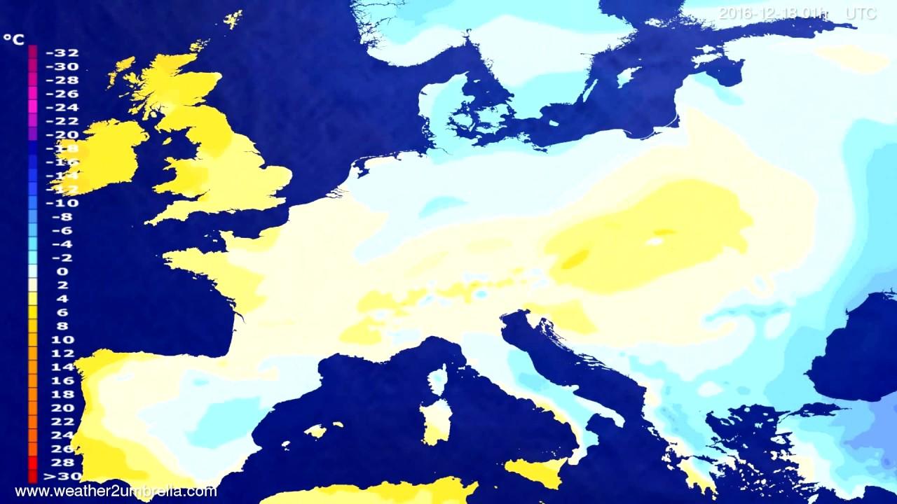Temperature forecast Europe 2016-12-14