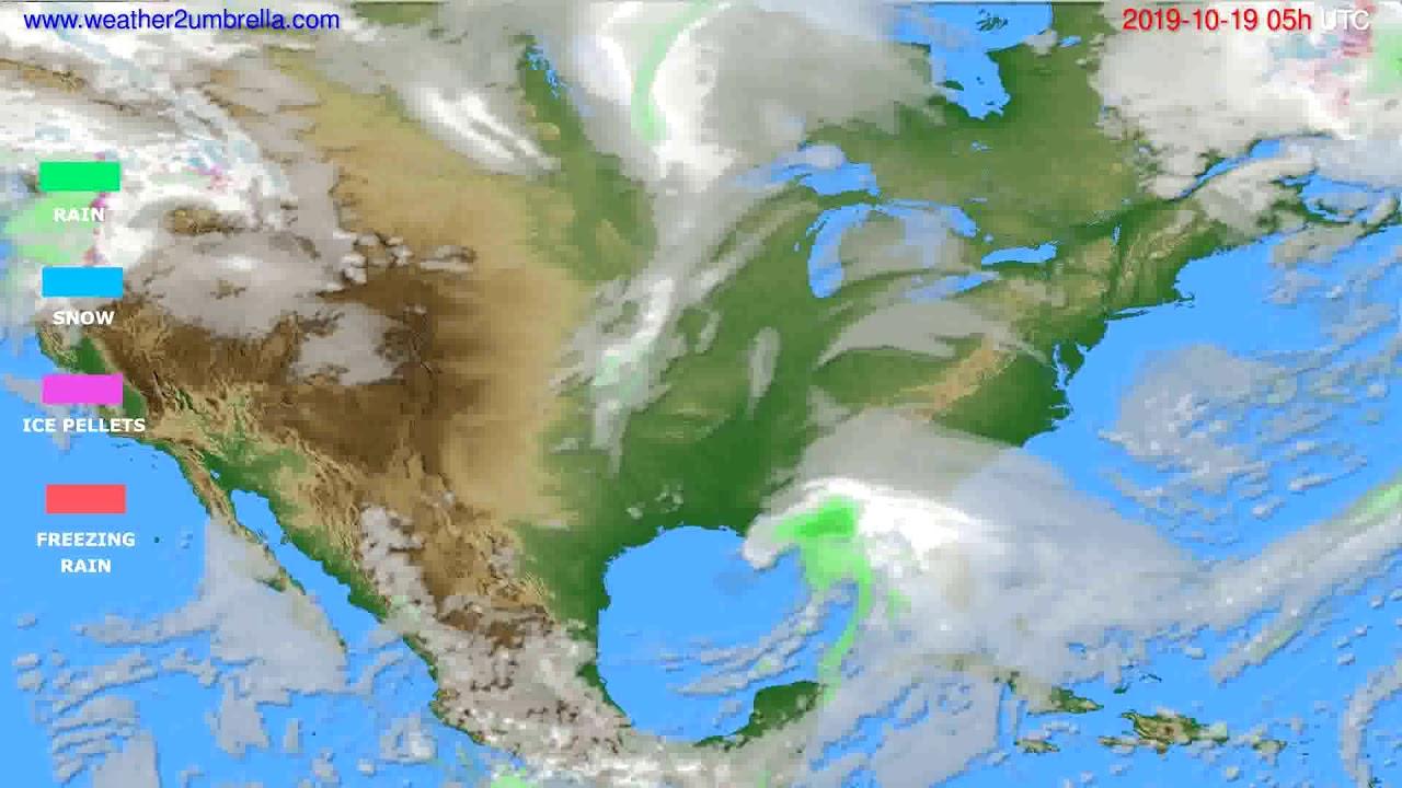 Precipitation forecast USA & Canada // modelrun: 12h UTC 2019-10-17