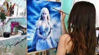 """I love Game of Thrones! Here is a timelapse of me painting the beautiful Daenerys Targaryen, """"Khaleesi"""" as portrayed by Emilia..."""