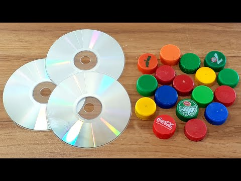 AMAZING CRAFTING OUT OF OLD CD DISC & PLASTIC BOTTLE CAPS | AWESOME DECORATION IDEA 2020