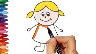 Cara menggambar anak perempuan - Cara Menggambar dan Mewarnai TV Anak