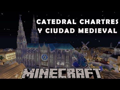 Catedral Chartres y ciudad medieval - Minecraft construcción